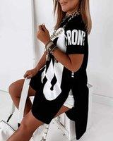 Women Fashion Casual Loose Fit Midi Dress Female Casual Short Dresses Letter Print Dip Hem T-Shirt Dress G1011