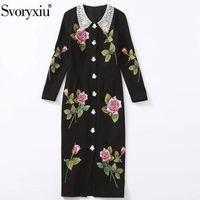 Günlük Elbiseler Svoryxiu Moda Pist Sonbahar Kış Artı Boyutu Elbise kadın Lüks Gül Çiçek Nakış Aplike Tek göğüslü Siyah