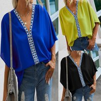 Summer T Shirts Women Casual V-Neck Batwing-Sleeve T-Shirt Ladies Fashion Splicing Short Sleeve Blouse Tops 2021 Women's