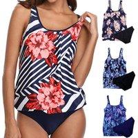 Trajes de una pieza 2pcs / set trajes de baño Mujeres Bikini Set Sexy Backless acolchado Resumen Top Tops Dos piezas Bikinis Bañador 2021 Mujer
