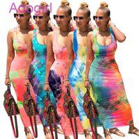 Women Tie Dye Print Sexy Long Dress Backless Bandage Maxi Dresses Sleeveless Vintge Vestidos Beach Party Club Outfis Sundress