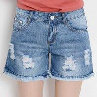 Jeans Tassel Burr Hole Denim Shorts Estate da donna Coreana Allentato Gamba larga