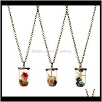 Pendant & Pendants Jewelryworld Dry Flower Starfish Pearl Wish Drift Bottle Necklaces For Women Lover Glass Necklace Christmas Gift -P Drop D