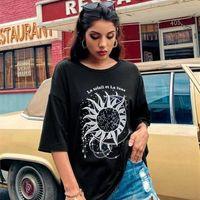 Women's T-Shirt Seaport YF LA SOLEI Women Short Sleeve Sun Moon Funny Printed T Shirt Cotton O-Neck Fashion Street Style Tops For Female