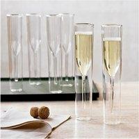4 pcs parede dupla vidro champanhe champanhe flutas sem feijão de vinho cálice tulipa tulipa tulipa cocktail festa de casamento copo