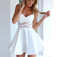 Summer Women Dress Fashion Slim A-Line Sexy V-Neck Sleeveless Lace Stitching Sling Elegant Vestidos Casual Dresses