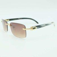 Sonnenbrille Männer Echte Buffalo Horn Gläsern Randlose weiße und schwarze Quadratische Männer Carter Gläsern Schattierungen Optische Füllung Rezept