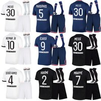 2021 2022 Messi Eşofman Gerçek Madrid Erkekler Futbol Forması 21 22 Tehlike Futbol Mbappe Paris Benzema Survetement Maillots De Ayak Enfants Çocuk Kiti + Çorap Futbol Suits