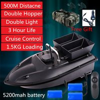New High Quality Double hopper Double Motor Fixed speed Cruise Automatic Feed Fishing Bait Boat with waterproof bag car charger X0522