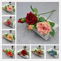 2 Kafa Açık Yapay Gül Ipek Çiçek Parti Düğün Dekoratif Ev Yemeği Masa Dekorasyon Simülasyon Çiçekler OWF7227