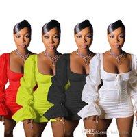 Kadınlar Günlük Elbiseler Bandaj Kare Boyun Kabarcık Kol Elbise Rahat Ruffles Bodycon Sürdürülebilir Boşaltın Kadınlar Etek XS-XL