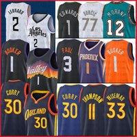 Curry 33 Wiseman 30 Stephen Basketball Trikots Devin 1 Booker Kawhi 2 Leonard Devin 1 Booker Luka 77 Doncic JA 12 Morant Klay 11 Thompson
