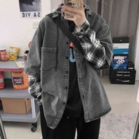 Cowboy jacket men's fashion brand stitching ins Street Fashion Korean Plaid fake two jackets handsome BT shirt