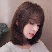 Sentetik peruk kısa saç orta tam başlık çevrimiçi ünlü doğal uzun gerçek peruk