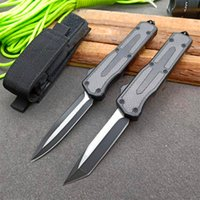 New Arrival Automatic Tactical Knife 440C Black Oxide + Wire Drawing (Two-tone) Blade Zn-al Alloy Handle EDC Pocket Knives With Nylon Bag