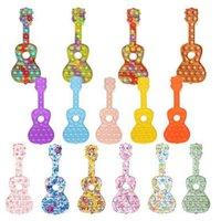 Arco-íris Watermark Camuflagem Push Pop It Undgets Silicone Brinquedos Festa Sensory Guitarra Forma Bubble Descompactação Necessidades Especiais Ansiedade Reliador Trabalhadores