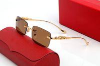 الأعمال عارضة الكلاسيكية النظافة النظارات الشمسية الرجال النساء الأزياء الحديثة العلامة التجارية الإطار البصري مصمم نظارات المعادن ثلاثي الأبعاد رمادي عدسة البني واضحة مع مربع أعلى