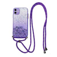 Жидкий блеск Ясных чехол для телефона для iPhone 12 Pro Max с Crossbody Ranyard ремешок Bling Sparkle Quicksand силиконовый гель TPU защитная задняя крышка
