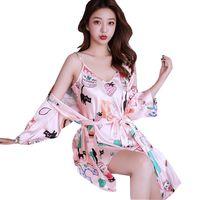 Sleepwear Wholesale Two-piece Slip Soft Silk Night Robes for Women, Satin Bridal Lady Nightdress