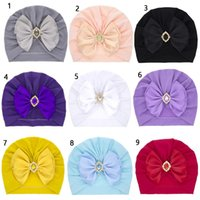 Europe Fashion Infant Baby Bow rhinestones Hat Bowknot Headwear Cap Child Toddler Kids Turban Solid color Indian Hats Children Accessories 10 Colors