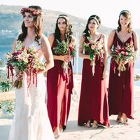 Burgundy Bridesmaid Dresses Chiffon Spaghetti Straps Ruched Sleeveless Sash Side Ankle Length Plus Size Maid of Honor Gown Country Beach Wedding vestidos