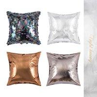 Cojín / almohada decorativa Productos exclusivos! INS Bling Brillo Lentejuelas Sofe Cojín Funda Super Hermosa PO Props Bed PU Funda de almohada