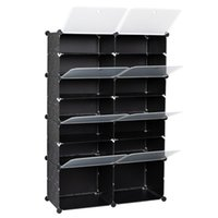 US stock 7-Tier Portable 28 Pair Shoe Rack Organizer 14 Grids Tower Shelf Storage Cabinet Stand Expandable for Heels, Boots, Slippers, Black