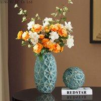Jarrones ligeros de lujo con helada esmerilado vidrio sala de estar flores secas ornamentos florales moderno minimalista decoración del hogar arreglos florales