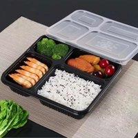 Бесплатная отгрузка 4 отсеков Выньте контейнеры сорта PP пищевые упаковочные коробки высокого качества одноразовые Bento коробка для отеля моря