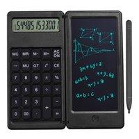 접이식 계산기 6 인치 LCD 작성 태블릿 디지털 드로잉 패드 12 자리 디스플레이 스타일러스 펜 지우기 버튼 잠금 기능