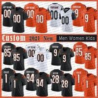 9 Joe Burrow Burreaux 28 Mixon Homens Personalizados Mulheres Kids Football Jerseys Jamarr Ja'marr Chase 85 Tee Higgins 30 Jessie Bates III 2021 CincinnatiBengals.Tyler Boyd.