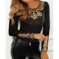 Women's Blouses & Shirts Blouse Women Elegant Top Black O-neck Long Sleeve Embroidery Mesh Hollow Out Tops 2021 Woman Sexy Comfortable