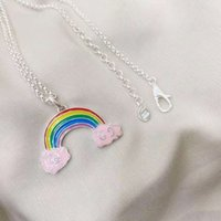 Gujia 925 silver drop glue stereo rainbow pendant men's and women's necklaces sweater chain