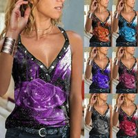 Women's Tanks & Camis Summer Fashion Casual Loose Deep V Neck Printed Straps Top Tshirt Womens T-shirt With Tops Sexy Blouse Gir U5q0