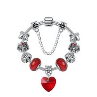 Pandora Strands Christmas romantic red heart pendant bracelet small personality crystal beads simple hand ornaments