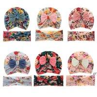 Newamerican Baby Headwear Caps 아이가 인쇄 된 2 피스 세트 아이들 태아 캡 늘이는 크로스 헤어 밴드 신생아 모자 LLF10328
