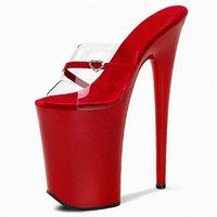 여름 섹시한 빨간색 맑은 슬리퍼 20cm 높은 굽 신발 라운드 발가락 플랫폼 8 인치 베이킹 페인트 베이킹 페인트 나이트 클럽 단계 N1AJ #