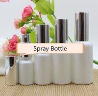 10 20 30 50 ml İnci Beyaz Cam Sprey Şişesi Ince Mist Atomizer Parfüm Örnek Şişe Gümüş Pompa Esansiyel Yağları Ile SN991Goods