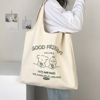 HBP fashion lady shopping bag large capacity all-match canvas shoulder bag trend student school bags