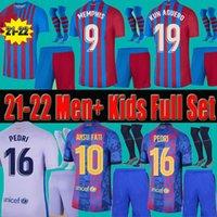 21 22 Barcelona Fußball-Trikots Männer Erwachsene Kinder Kurze Socken Full Set Kits Kun Aguero Memphis Pedri Ansu Fati Dest 2021 2022 Thai Barca F.de Jong Football Hemden Unifrom