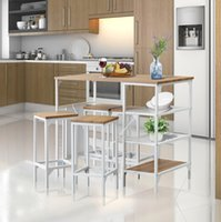 Compteur 5 pièces Hauteur salle à manger Table de table Ensemble de bar de style industriel avec 4 tabourets dossiers pour la finition en chêne à la maison