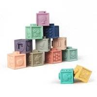 Cubo Emboss Borsa a mano Mattoni Bricks Bath Teether 3D Touch Squeeze Baby Large Soft Plastic Silicone Gomma Building Blocks Blocks Toys per Baby Q0423