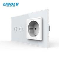 Presa di corrente a parete standard UE LIVOLO 16A con interruttore touch, AC220 ~ 250 V, 7 colori Pannello in vetro cristallo, C702-C7C1EU-11, No