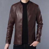 Men's Leather & Faux Men Split Jacket 2021 Spring And Autumn Zipper Sheepskin Slim Male Motorcycle Teenage Boy P11