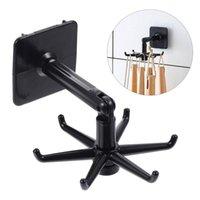 Hooks & Rails 1 Set 4Pcs Multi-function Rotating Punch Free Storage Hangers (Black)