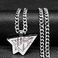 Pendant Necklaces 2021 Fashion Stainless Steel Airplane Chain Women Men Silver Color Landscape Necklace Jewelry Bijou Femme N734S01