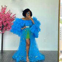 Blue Party платье женщин одежды с бабочками пухлые рукава передние открытые длинные платья выпускного вечера Фотосречка родовское платье плюс размер черные девушки коктейль Vestidos