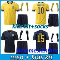 Männer + Kinder Kit Schweden Jersey 2021 Nationale Fußball-Trikots Home Ibrahimovic Forsberg Kallstrom 20 21 Erwachsene Kind Fußballhemden