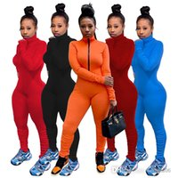 Women Jumpsuits Sexy Slim Solid Color Zipper Long Sleeve Pleated Pants Autumn And Winter Laides New Fashion Rompers