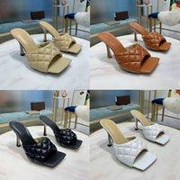 Frauen Designer gepolsterte Sandalen Sexy Lido Slides Weiche Nappa Leder-Squared-Hausschuhe Fersenhöhe: 9 cm Sommer-Flip-Flops mit Kasten 280